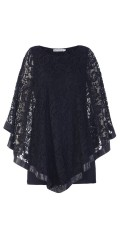 Studio - Lace blouse with edge in imitation leather and hard sewn viscose top