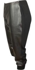 Studio - Capri buks med læder look foran og smart bred rib forneden