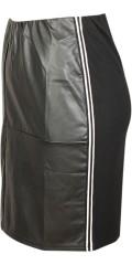 Studio - Kjol med läder utseende framsida och vita sports randar i sidorna