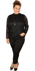 Studio - Lace blouse with smock neck, is closed with zipper in the neck, super strechy