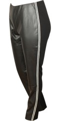 Studio - Leggings with leather look front and white sports stripes in the sides
