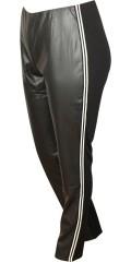 Studio - Leggings mit Leder-Optik vorne und weisse Sports Streifen an den Seiten