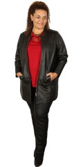 Handberg - Jacket in retro style sewn in lambskin with rough zipper and 2 sloping pockets