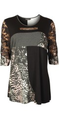 Handberg - Tunica with lace sleeves and in sewn different colours and print