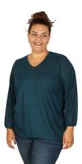 Handberg - Søt genser med v-hals og strikk nederst
