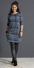 Handberg - Tunika kjole med 3/4 ærmer og i super smart mønster