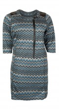 Handberg - Tunica dress with 3/4 sleeves and in super smart pattern