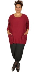 Handberg - Oversize tunica blouse in flax look with 3/4 sleeves and pockets