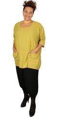 Handberg - Oversize tunika blus i lin look med 3/4 ärmar och fickor