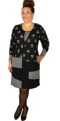 One More - Flott strechy kjole i svarte/grå nyanser med lange ermer
