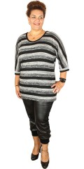Cassiopeia - Elisa blouse with round neck and wing sleeves in thin knit with stripes
