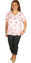 Zhenzi - Blouse with short sleeves and rubber band in the bottom in stylish viscose