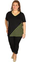 Handberg - T-shirt i lækkert strechy materiale med flot v-hals og print