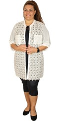 Que - Nice and gauzy all-buttoned lace shirt/cardigan