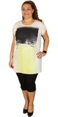 DNY - Oversize tunika med trykk og ensfarget bakstykke