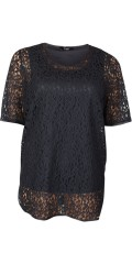 Q´neel - Fine lace blouse with short sleeves