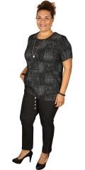 Q´neel - Bluse mit kurze Ärmeln in Präge grau/schwarz Muster