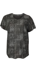 Q´neel - Blouse with short sleeves in embossed grey black pattern