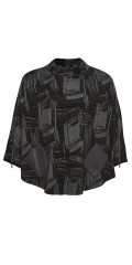 Q´neel - Poncho in super smart fabric and with 2 pockets in leather look