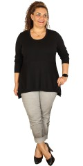 Que - Fine knit tunica/blouse with long sleeves and with round neck