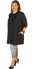 Gozzip - Skjorte tunika med 3/4 ærmer som afsluttes med elastik i hør og bomuld
