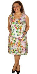 Gozzip - Kjole med lommer foran og uden ærmer i super smart sommer print