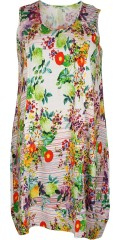 Gozzip - Dress with pockets front and without sleeves in super smart print