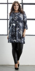 Zhenzi - Strechy tunika med 3/4 ærmer i fantastisk flot print
