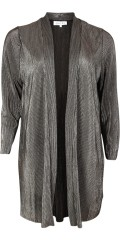 Zhenzi - Long cardigan in silver lame with pleat effect
