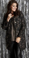 Zhenzi - Stylish cardigan/jacket with pockets. Heavily woven jacquard with copper wires