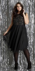 Zhenzi - Dress with hard top in heavily embroidered material with copper threads and fine tulle skirt
