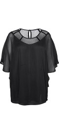 Zhenzi - Chiffon blouse with festive cape on the back and hard sewn top under