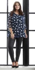 Zhenzi - Bluse med store prikker og 3/4 ærmer og flot fast syet top med blonde
