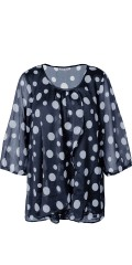 Zhenzi - Blouse with big dots and 3/4 sleeves and nice hard sewn top with lace
