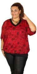 Zhenzi - Chiffon Bluse mit fest genäht Top und hübsch V-Hals und Detail in der Rücken