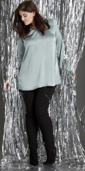 Zhenzi - Nice tunica in silk look with long sleeves and super smart fall in the back