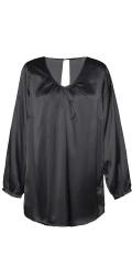 Zhenzi - Flot tunika i silkelook med lange ærmer og super smart fald i ryggen