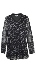 Zhenzi - Nice chiffon blouse with silver print and v cutting