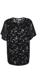 Zhenzi - Blouse with silver print and short sleeves also hard sewn lining