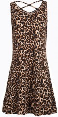 Studio - Leopard dress without sleeves and with cross in the neck