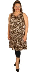 Studio - Leopard kjole uden ærmer og med kryds i nakken