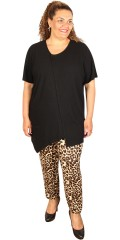 Studio - Leopard loose fit pants 7/8 length with rubber band in whole the waist and in the legs