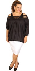 Cassiopeia - Jessi blouse with rough lace in the neck and ends with thin rubber band in sleeves and at the bottom