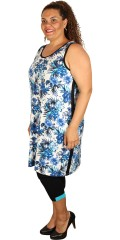 Cassiopeia - Dress without sleeves and with round neck in super smart pattern