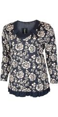 Handberg - Phantastisch hübsch Bluse mit Volantkante unten und lange Ärmeln in hübsch Muster