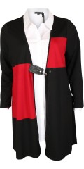 Studio - Bella cardigan with long sleeves and a fine closing centrally front in imitation leather