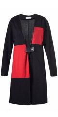 Studio - Bella cardigan with long sleeves fine closing centrally front in imitation leather