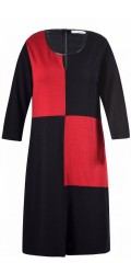 Studio Clothing - Ellie 3/4 the sleeve dress in  rib with round neck with little slit