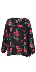Studio - Lily blouse with rose print and long sleeves as ends with rubber band