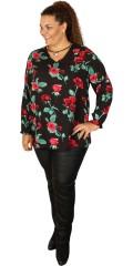 Studio - Lily bluse med rose tryk og lange ærmer som afsluttes med elastik